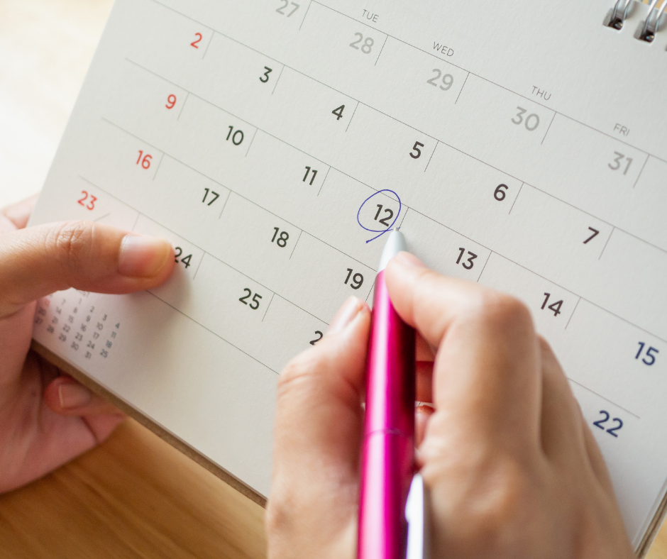 Mental Health First Aid Refresher Training girl circling date on calendar